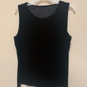 3/$15 Black velvet velveteen boxy sleeveless top